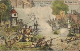 ILLUSTRATION FELDSKIZZE VOLLSTANDIGE NIEDERLAGE DER ENGLISCHEN ARMEE BEI SAINT QUENTIN 1914 - War 1914-18