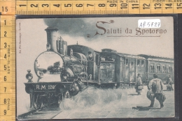 SALUTI DA SPOTORNO TRENI TRAINS ILLUSTRATA SAVONA - Savona