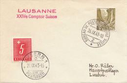 Schweiz 1943 - 2 Fach Frankiert + Sonderstempel Auf Kleinen Brief Lausanne Comptoir Suisse