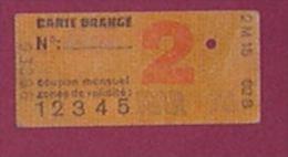 RATP CARTE ORANGE 5 ZONES-  MARS 1976 - 2 SCANS - Abonnements Hebdomadaires & Mensuels