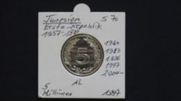 Tunisia - 1997 - 5 Millimes - KM 348 - Unc - Look Scan - Tunesien