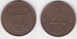 ALLEMAGNE : 4 REICHSPFENNIG 1932 A Bronze (voir Scan) - [ 3] 1918-1933 : Weimar Republic