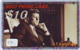 President KENNEDY Sur Prepaidcarte (27) John F. Kennedy President USA - Characters