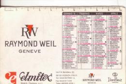 43-CalendariettoOrologi Raymond Weil-Elmitex-1991-Plastificato-Mediocri Condizioni - Calendari