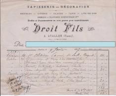 Facture Droit  Fils - Tapisserie Décoration - Avallon - 9 Janvier 1897 - Invoices & Commercial Documents