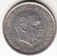 ESPAÑA 1957 .ESTRELLA 75    25 PESETAS .NUEVA  SIN CIRCULAR.RARA . CN4220 - 25 Pesetas