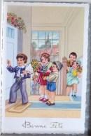 Litho Illustrateur MB 3230 PETERSEN ? Fillette  Fille Garcon Dans Escalier Visite Ami Bouquet Fleurs Fete - Taferelen En Landschappen