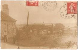 Dépt 89 - GRON - Carte-photo Battage Blé, Locomobile, Entreprise Émile JARRY (voir état) - Env. Collemiers, Étigny, Sens - France