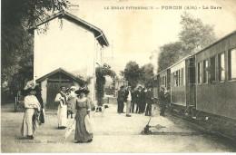 PONCIN AIN 01  LE BUGEY PITTORESQUE PONCIN LA GARE  EDIT. RAVIER  ECRITE 1923 DOS VERT - Otros Municipios