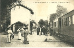 PONCIN AIN 01  LE BUGEY PITTORESQUE PONCIN LA GARE  EDIT. RAVIER  ECRITE 1923 DOS VERT - Other Municipalities