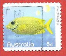 AUSTRALIA USATO - 2010 - Pesci Della Barriera Corallina - Coral Rabbitfish - 0,05 $ - Michel AU 3400BA AUTOADESIVO - 2010-... Elizabeth II