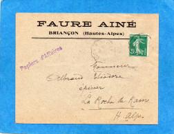 """Marcophilie-lettre Commerciale""""papiers D'affaires"""" Cad 1910 Ambulant Briançon à Veynes-afft  5 C Semeuse ROULETTE - Posttarieven"""