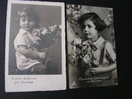== 2 Alte Karten Kind Mit Blumen  Ca. 1940 - Portraits