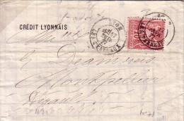 SAGE - RHONE - LYON - LE 17-2-1877 SUR 75c ROSE TYPE SAGE N°71 (N/B) - COTE 45€. - Marcophilie (Lettres)