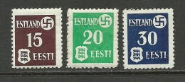 Estland Estonie Estonia 1941 German Occupation Michel 1 - 3 X MNH ERROR Abklatsch - Occupation 1938-45