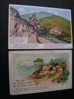 == 2 Alte Karten Sprüche Poesie - Künstlerkarten