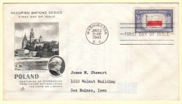 USA SC #909 FDC  1943 Occupied Nations / Poland (06-22-1943) - First Day Covers (FDCs)