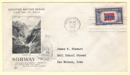 USA SC #911 FDC  1943 Occupied Nations / Norway (07-27-1943) - First Day Covers (FDCs)