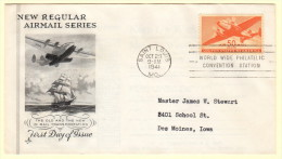 USA SC #C31 FDC  1944 50c Transport Plane (10-29-1941), CV $35.00 - First Day Covers (FDCs)
