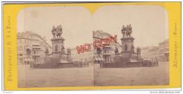 Au Plus Rapide Photo Stéréoscopique XIX ème Siècle Francfort Sur Le Mein Allemagne Monument Guttenberg Et Rossmarkt - Stereoscopio