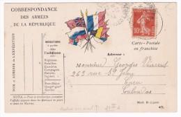 Carte En Franchise Militaire Modèle 4D - *V, * Sous Le Point Après Déposé - Marcophilie (Lettres)