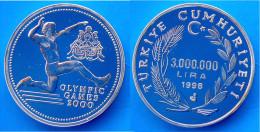 TURCHIA 3000000 L 1998 ARGENTO PROOF TURKEY OLYMPIC GAMES 2000 SYDNEY SALTO PESO 31,47g TITOLO 0,925 CONSERVAZIONE FONDO - Turquie