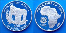 ZAIRE 500 NZ 1996 ARGENTO PROOF RARA WILDLIFE WWF GORILLA AFRICA PESO 20g. TITOLO 0,500 CONSERVAZIONE FONDO SPECCHIO. - Zaire (1971-97)