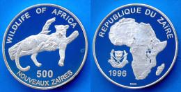 ZAIRE 500 NZ 1996 ARGENTO PROOF WILDLIFE WWF LEOPARD AFRICA PESO 20g. TITOLO 0,500 CONSERVAZIONE FONDO SPECCHIO. - Zaire (1971-97)
