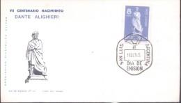 VII CENTENARIO DEL NACIMIENTO DE DANTE ALIGHIERI 1265-1965 ARGENTINA SOBRE