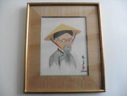 Asie :Tableau Asiatique   Portrait Homme  Sur Toile - Art Asiatique