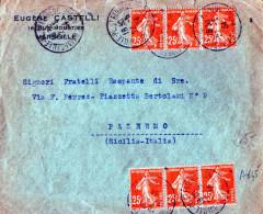 BUSTA POSTALE PUBBLICITARIA-24-5-1934-MARSIGLIA-DITTA EUGENE CASTELLI--SPEDITA A PALERMO-(ITALIA ) 25 CENT. X 6 - Francia