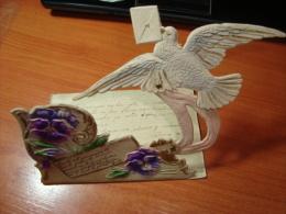 Carte A Systeme Mechanic  Dove Transport Letter Flowers Ca1900  Vintage Original Postcard Cpa Ak (W4_868) - A Systèmes