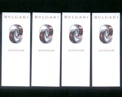 4 X Singapore Perfume Cards Cartes Parfumees --  BVLGARI OMNIA - Perfume Cards