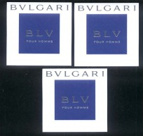 3 X Singapore Perfume Cards Cartes Parfumees --  BVLGARI BLV - Modern (from 1961)