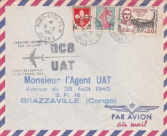 France 1960 UAT First Flight Cover By DC-8  Paris-Brazzaville - France