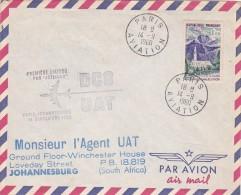 France 1960 UAT First Flight Cover By DC-8  Paris-Johannesburg - France