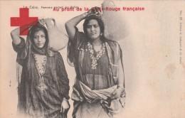 CP LE CAIRE EGYPTE FEMMES PORTANT DES BALLAS AU PROFIT DE LA CROIX ROUGE +CACHET - Croix-Rouge