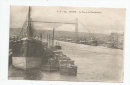 Cp , Bateaux , Péniches , Commerce , écrite 1918 , ROUEN  , Le Port Et Le Transbordeur - Schiffe
