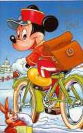 Carte De Voeux DISNEY Joyeux Noel, Format  13,5x8,5 Cm, Mickey Ecolier A Velo, Lapin, Neige A - Altri