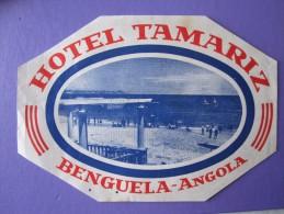 HOTEL PENSAO ESTALAGEM TAMARIZ BENGUELA AFRICA MOCAMBIQUE ANGOLA PORTUGAL DECAL LUGGAGE LABEL ETIQUETTE AUFKLEBER - Hotel Labels