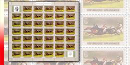 Rwanda 0338**  20c  Le cheval dans la peinture - Feuille / Sheet de 40 MNH + 2 labels Gericault