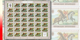 Rwanda 0339**  40c  Le cheval dans la peinture - Feuille / Sheet de 40 MNH + 2 labels - Delacroix