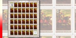 Rwanda 0340**  60c  Le cheval dans la peinture - Feuille / Sheet de 40 MNH + 2 labels - Le Titien