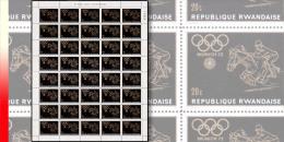 Rwanda 0422**  20c Jeux Olympiques de Munich - Feuille / Sheet de 40 MNH Equitation Horse Cheval