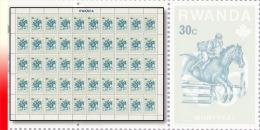 Rwanda 0738**  30c  Pr�-Olympiques de Montr�al - Feuille /Sheet de 50 MNH Cheval Horse Equitation