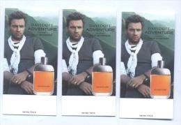 3 X Singapore Perfume Cards Cartes Parfumees --  DAVIDOFF ADVENTURE EWAN McGREGOR - Modern (from 1961)
