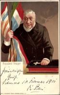 Lithographie President Paul Kr�ger, Oom Paul, Ohm Kr�ger, S�dafrikanischer Politiker, Portrait, Bibel