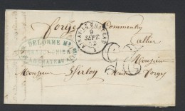 ALLIER 03 LAC AINAY LE CHATEAU Tad  Type 15 Du 9  Septembre 1852  + Taxee 25 DT TTB - Storia Postale