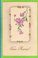 'Vive Marie!', Fijne Paarse Bloemen Met Gouden Hartjes In Een Gouden Kader, Reliëf, Vintage - Fête Des Mères