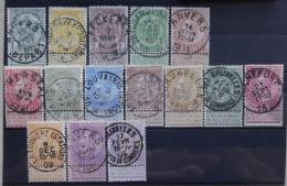 BELGIE   1893    nr. 53 - 67   Fijne Baard    Gestempeld      CW  140,00